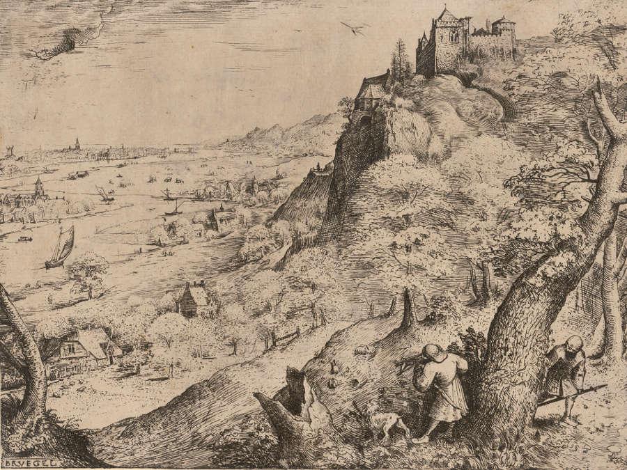 Pieter Bruegel d. Ä, Hasenjagd, 1560, Radierung, 21,2 × 28,9 cm (© Albertina, Wien, Inv. DG1955/37)