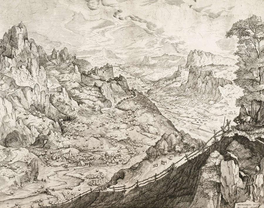 Pieter Bruegel d. Ä. (Stecher: Jan und Lucas van Duetecum), Die große Alpenlandschaft, 1555/56 (© Albertina, Wien, Inv. 1955/60)