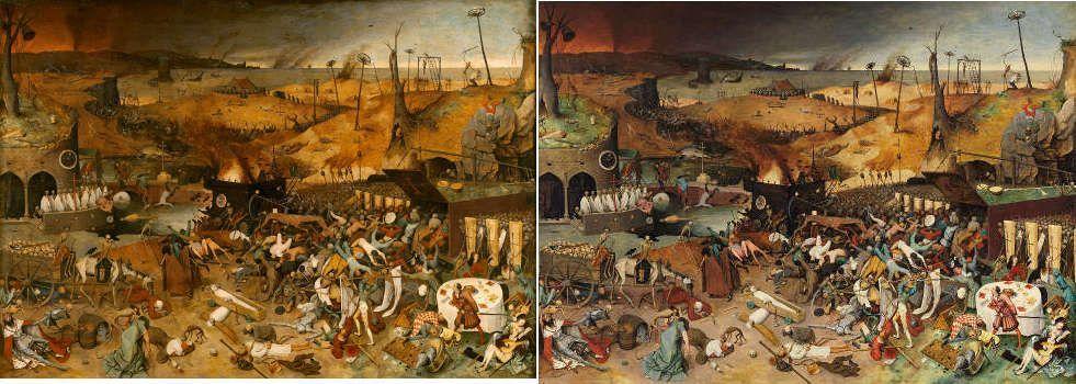 Pieter Bruegel d. Ä., Der Triumph des Todes (vor und nach der Restaurierung), 1562–1563, Öl/Holz, 117 x 162 cm (Madrid, Museo Nacional del Prado)