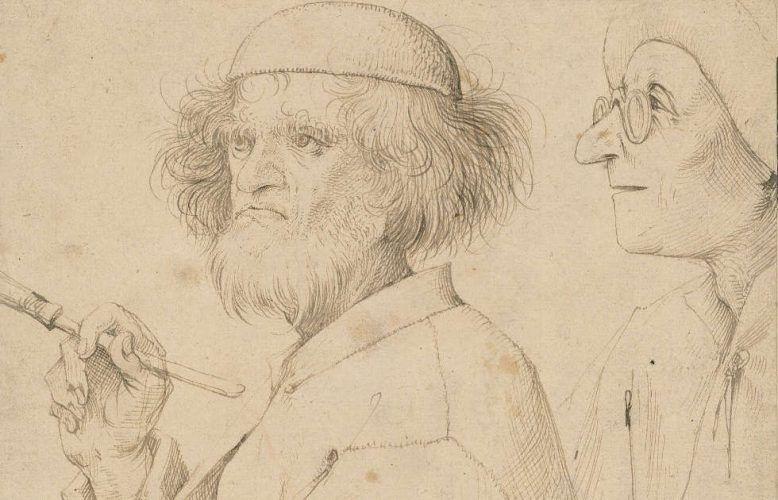 Pieter Bruegel d. Ä., Maler und Kenner, Detail, um 1566, Feder in Braun, 25,5 × 21,5 cm (Wien, Albertina © Albertina, Wien)