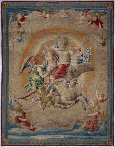 Pieter Coecke van Aelst, Vision des Ezechiel, um 1521, Tapesserie, 440 × 347 cm (Museo Nacional de Artes Decorativas, Madrid © Museo Nacional de Artes Decorativas. Madrid)