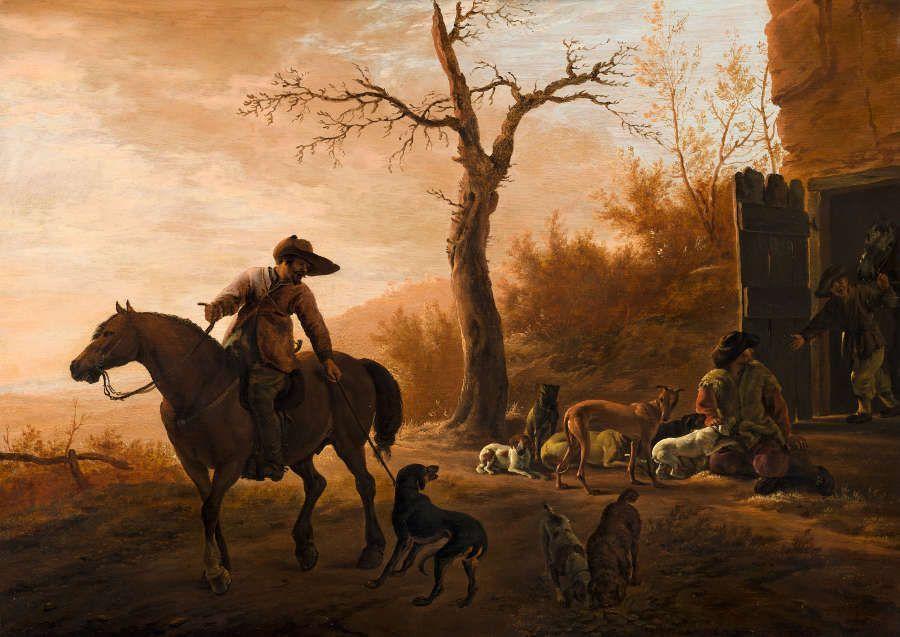 Pieter van Laer, Landschaft mit Jägern, um 1639, Öl/Holz, 31 x 43,5 cm (Koninklijk kabinet van Schilderijen – Mautritshuis, Den Haag, Inv. 1102)