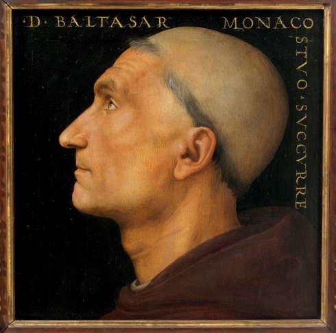 Pietro Perugino, Der Mönch Baldassare, Öl/Holz, 26 x 27 cm (Galleria dell'Accademia, Florenz)