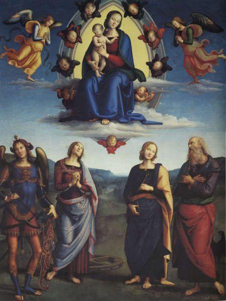 Pietro Perugino, Madonna mit Kind und vier Heiligen, um 1500/01, Öl/Holz, 330 x 265 cm (Pinacoteca Nazionale di Bologna)