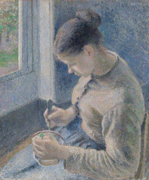 Camille Pissarro, Junge Bäuerin trinkt ihren Kaffee, Öl auf Leinwand, 63,9 x 54,4 cm (The Art Institute of Chicago)