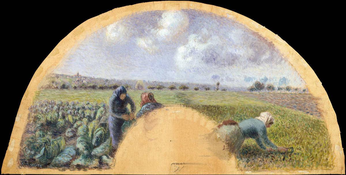 Camille Pissarro, Kohlernte, 1878/79, Gouache auf Seide, 16.5 x 52.1 cm (The Metropolitan Museum of Art, New York, Purchase, Leonora Brenauer Bequest, in memory of her father, Joseph B. Brenauer, 1994)