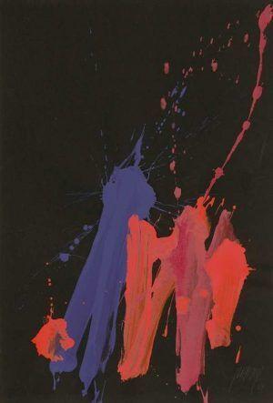 Markus Prachensky, California revisited, 2001, Acryl auf schwarzem Papier (Albertina, Wien © Atelier Markus Prachensky)