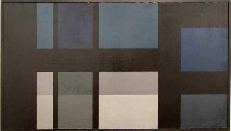 Markus Prachensky, Großes Bild in Blau, Grau und Schwarz, 1954/55, Öl auf Leinwand (Albertina, Foto: Alexandra Matzner)