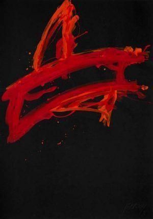 Markus Prachensky, Rot auf schwarz-Puglia, 1976, Acryl auf Papier (© Atelier Markus Prachensky)
