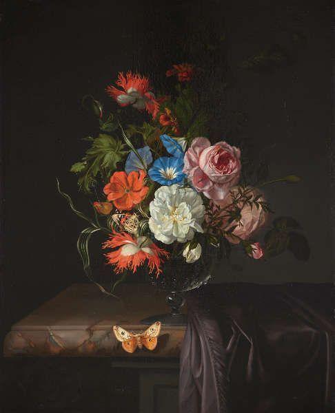 Rachel Ruysch, Blumen in einer Glasvase, 1686, Öl/Leinwand, 57,4 x 46 cm (Kunsthalle Bremen – Der Kunstverein in Bremen)