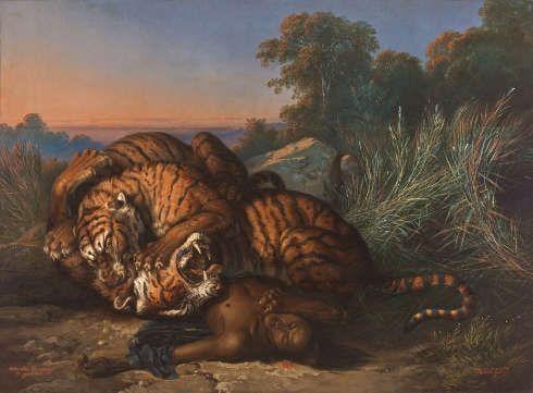 Raden Saleh, Kämpfende Tiger über der Leiche eines Javaners, 1870 (Foto: Johannes Stoll / Belvedere, Wien)