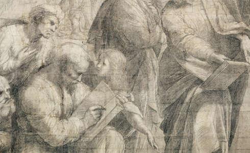 Raffael, Averroes, Pythagoras (schreibend) und Parmenides aus dem Karton der Schule von Athen (Pinacoteca Ambrosiana, Mailand © Veneranda Biblioteca Ambrosiana, Mondadori Portfolio)