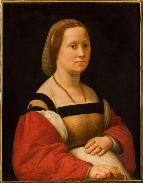 Raffael, Bildnis einer Frau, genannt die Schwangere, Öl/Holz, 70,5 x 55 cm (Galleria Palatina di Palazzo Pitti, Florenz)