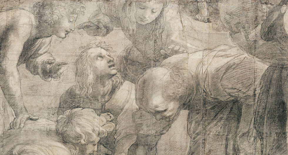 Raffael, Bramante als Euklid oder Archimedes aus dem Karton der Schule von Athen (Pinacoteca Ambrosiana, Mailand © Veneranda Biblioteca Ambrosiana, Mondadori Portfolio)