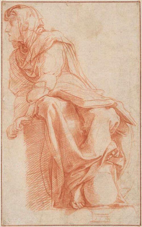Raffael, Die Cumäische Sibylle (Studie für das Sibyllenfresko, S. Maria della Pace, Rom), um 1511 (© Albertina, Wien)