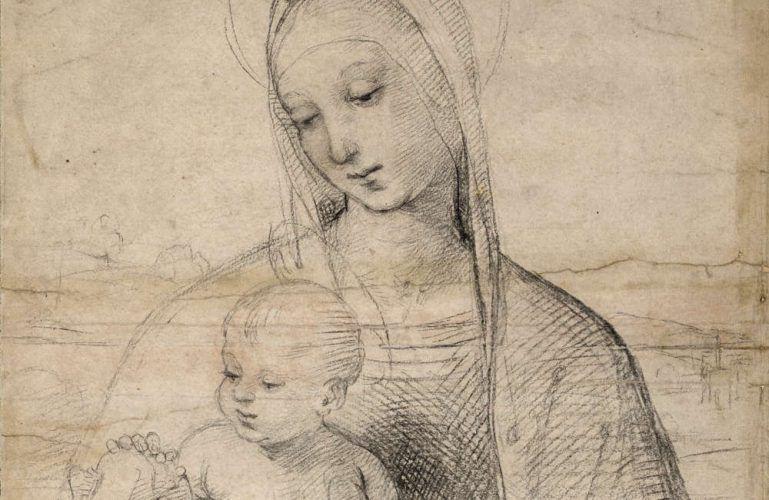 Raffael, Die Madonna mit dem Granatapfel, Detail, um 1504 (© Albertina, Wien)