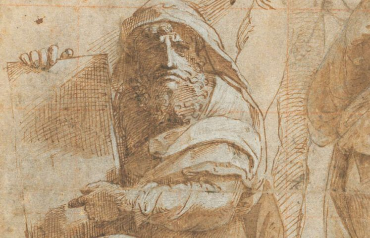 Raffael, Die Propheten Hosea und Jonas, Detail, um 1510, Feder, braune Tinte, Kohle, Stylus, 26,2 x 20 cm (The Armand Hammer Collection, National Gallery of Art, Washington, Inv.-Nr. 1991.217.4)