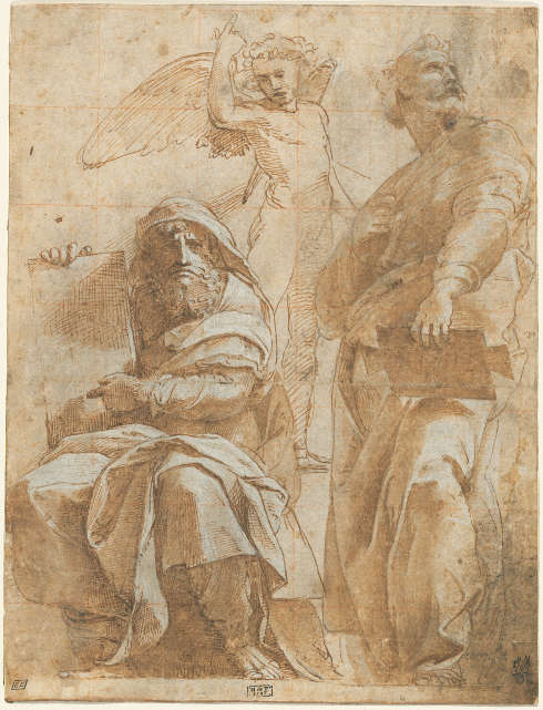 Raffael, Die Propheten Hosea und Jonas, um 1510, Feder, braune Tinte, Kohle, Stylus, 26,2 x 20 cm (The Armand Hammer Collection, National Gallery of Art, Washington, Inv.-Nr. 1991.217.4)