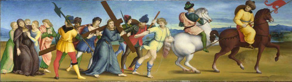 Raffael, Die Prozession zum Kalvarienberg, um 1504/05, Öl auf Pappel, 24.4 x 85.5 cm (© The National Gallery, London)