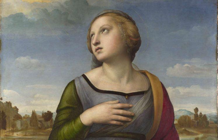 Raffael, Heilige Katharina von Alexandria, Detail, um 1507, Öl auf Pappel, 72.2 x 55.7 cm (© The National Gallery, London)
