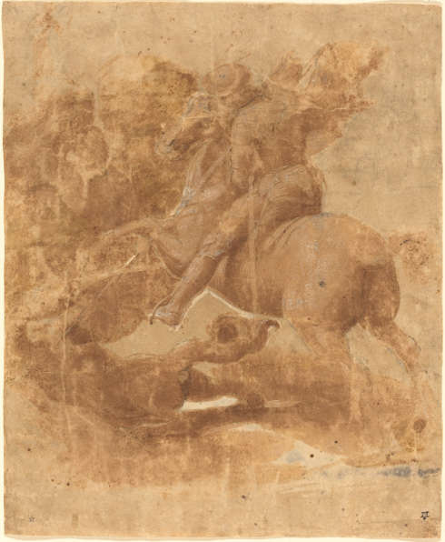 Raffael, Hl. Georg und der Drache, um 1506, Pinsel und braune Tinte, schwarze Kreide, Stylus, 24.5 x 20.3 cm (National Gallery of Art, Washington, Ailsa Mellon Bruce Fund, Inv..-Nr. 1982.42.1)