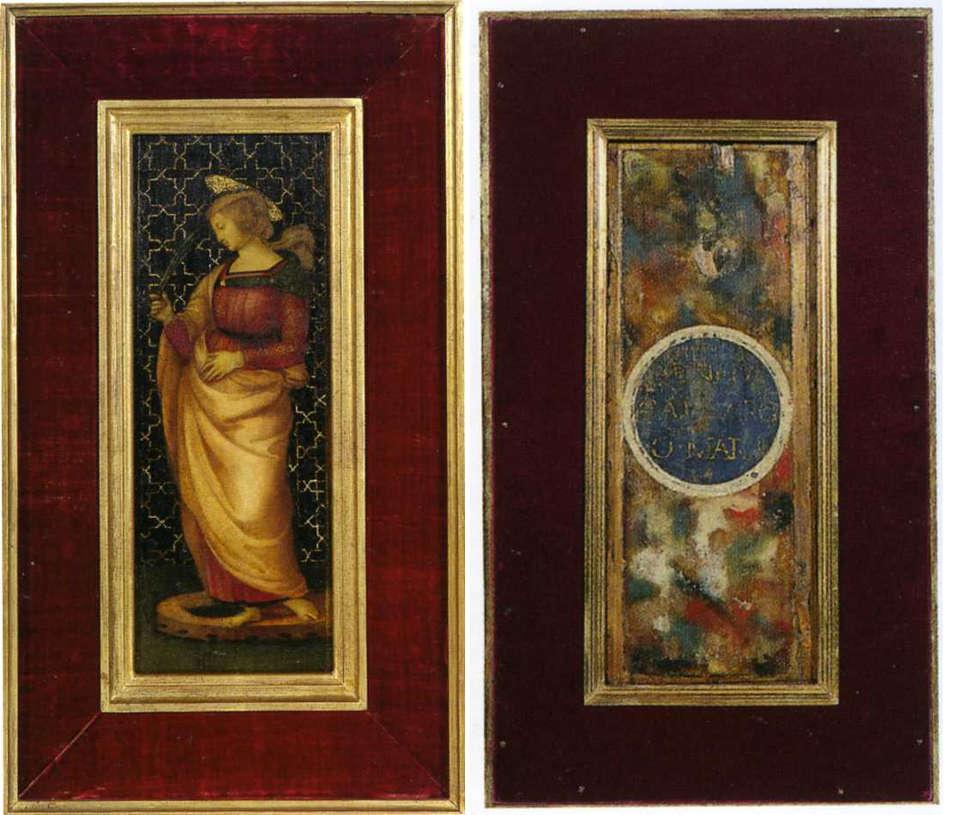 Raffael, Hl. Katharina von Alexandrien (Vorder- und Rückseite), Öl/Holz, 39 x 15 cm (Galleria Nazionale delle Marche, Urbino)