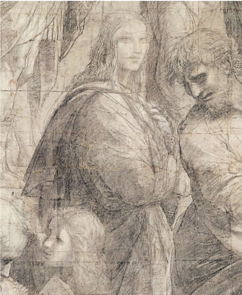 Raffael, Hypatia oder Francesco Maria I. della Rovere aus dem Karton der Schule von Athen (Pinacoteca Ambrosiana, Mailand © Veneranda Biblioteca Ambrosiana, Mondadori Portfolio)