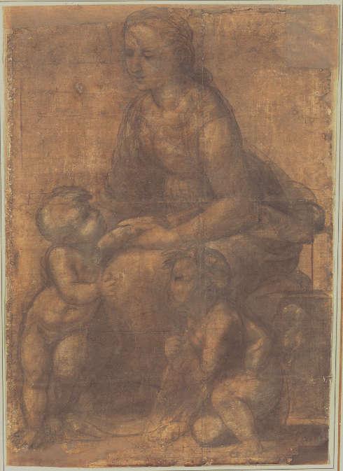 Raffael, Karton für die Madonna und Kind mit Johannes dem Täufer, um 1507, schwarze Kreide, 93.8 x 67 cm (National Gallery of Art, Washington, erworben mit Mitteln aus der Armand Hammer Foundation, Inv.-Nr. 1986.33.1)