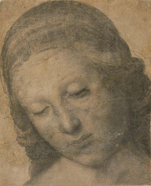 Raffael, Kopf der Madonna Terranuova, Fragment des Kartons, um 1505, Zeichnung auf Papier, 18,1 x 14,9 cm (© Staatliche Museen zu Berlin, Kupferstichkabinett / Dietmar Katz)