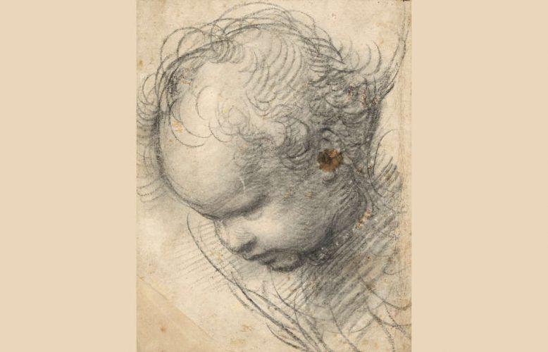 Raffael, Kopf eines Cherubs, 1509, Kohle, 29,8 x 23,4 cm (© Hamburger Kunsthalle, Kupferstichkabinett / bpk, Foto: Christoph Irrgang)
