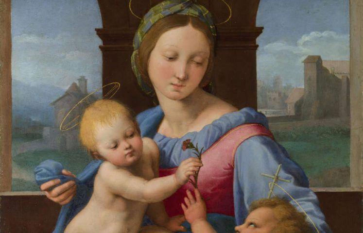 Raffael, Madonna Aldobrandini (auch: Madonna Garvagh), Detail, um 1510/11, Öl/Lw, 38,9 x 32,9 cm (The National Gallery, London)