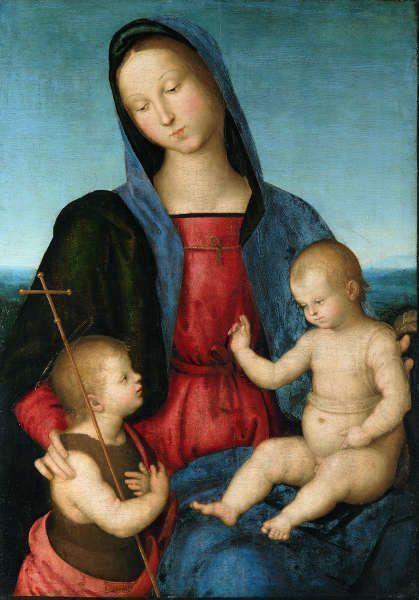 Raffael, Maria mit dem Kind, das den Johannesknaben segnet (Madonna Diotalevi), um 1503, Öl auf Pappelholz, 72,8 x 52,2 cm (© Staatliche Museen zu Berlin, Gemäldegalerie / Christoph Schmidt)