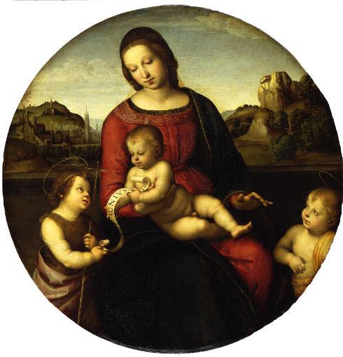 Raffael, Maria mit dem Kind, Johannes dem Täufer und einem Heiligen Knaben (Madonna Terranuova), um 1505, Öl auf Pappelholz, D: 88,7 cm (© Staatliche Museen zu Berlin, Gemäldegalerie / Jörg P. Anders)