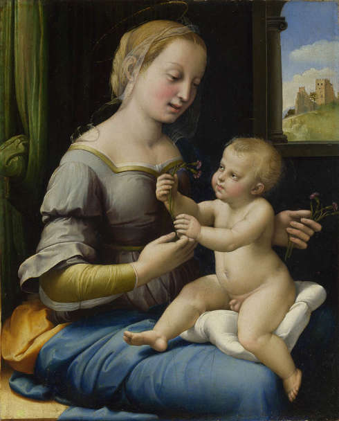 Raffael, Madonna mit den Nelken, 1506–1508, Öl-Eibe, 27,9 × 22,4 cm (The National Gallery, London)