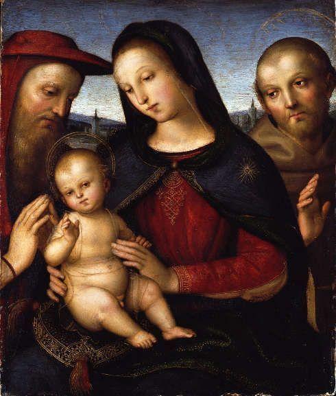 Raffael, Maria mit dem segnenden Kind und den Heiligen Hieronymus und Franziskus, um 1502, Öl auf Pappelholz, 35,3 x 29,8 cm (© Staatliche Museen zu Berlin, Gemäldegalerie / Jörg P. Anders)