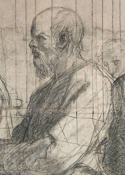 Raffael, Philosoph aus dem Karton der Schule von Athen (Pinacoteca Ambrosiana, Mailand © Veneranda Biblioteca Ambrosiana, Mondadori Portfolio)