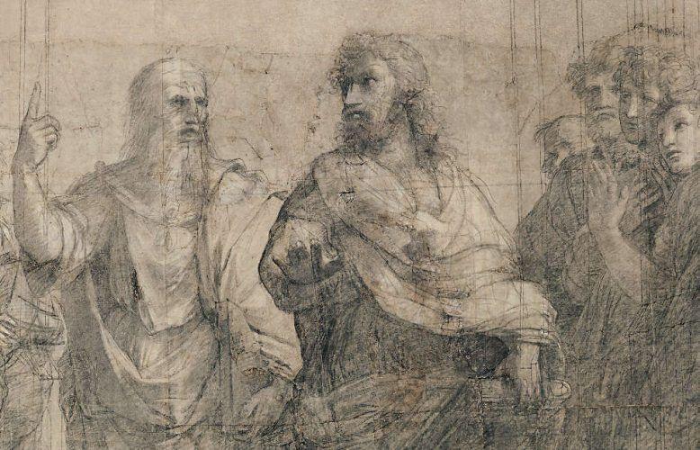 Raffael, Platon und Aristoteles aus dem Karton der Schule von Athen (Pinacoteca Ambrosiana, Mailand © Veneranda Biblioteca Ambrosiana, Mondadori Portfolio)