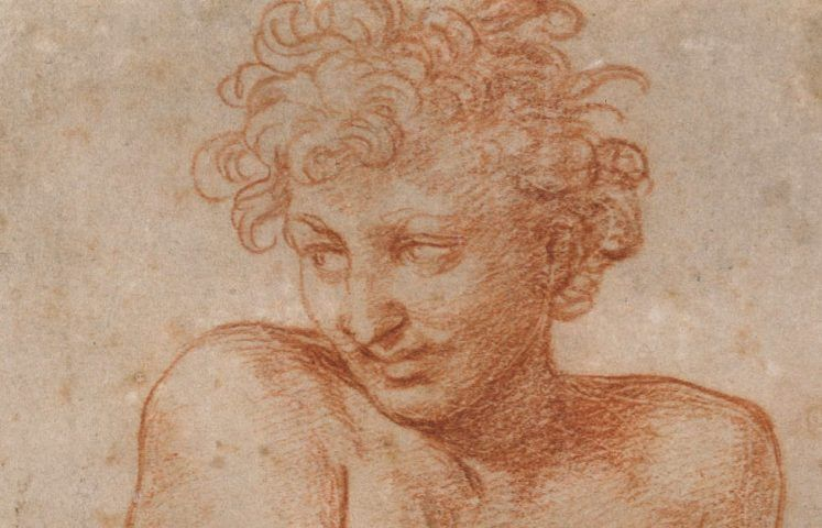 Raffael, Pluto, Detail, 1517/1518, Rötel über schwarzem Stift, weiß gehöht, gegriffelt, auf Papier (© Staatliche Museen zu Berlin, Kupferstichkabinett / Volker-H. Schneider)