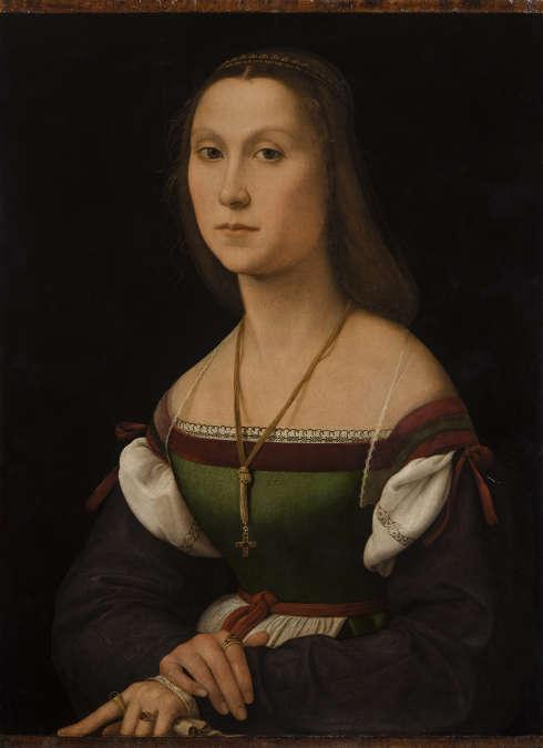 Raffael, Porträt einer Dame, genannt Die Taube, Öl/Holz, 64 x 48 cm (Galleria Nationale delle Marche, Urbino)