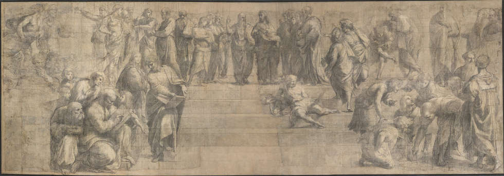 Raffael, Schule von Athen, Kohle und Bleiweiß auf Karton, 285 × 804 cm (Pinacoteca Ambrosiana, Mailand © Veneranda Biblioteca Ambrosiana, Mondadori Portfolio)