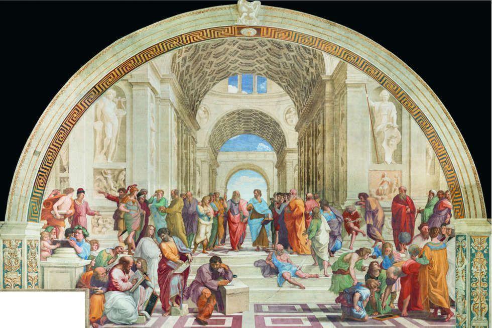 Raffael, Schule von Athen, in der Stanza della Segnatura, Fresko (© Governatorato dello Stato della Città del Vaticano – Direzione dei Musei Vaticani, tutti i diritti riservati)
