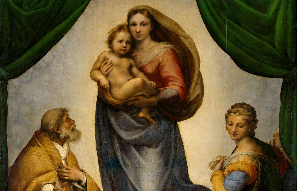 Raffael, Sixtinische Madonna, 1512/13, Detail, Öl auf Leinwand, 256× 196cm (Gemäldegalerie Alte Meister Staatliche Kunstsammlungen Dresden)