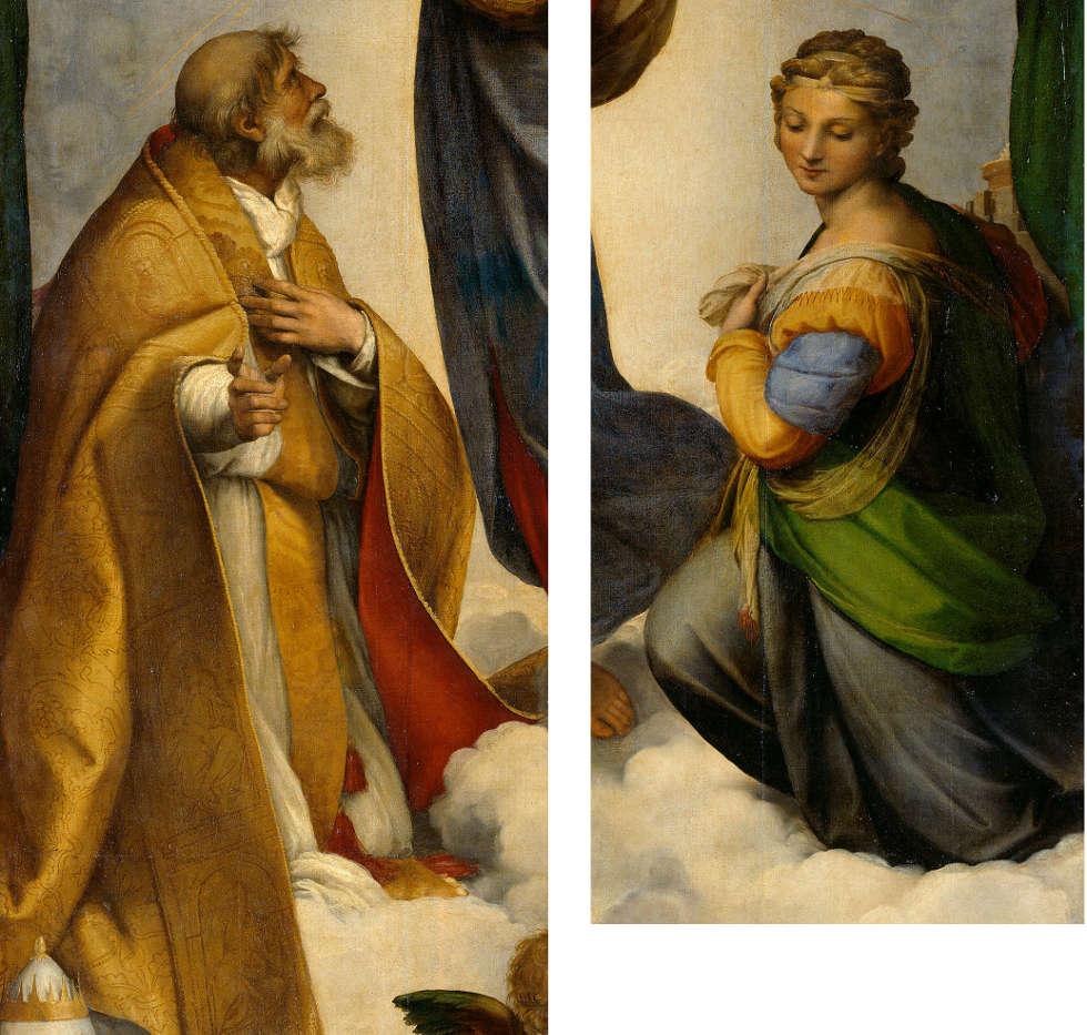 Raffael, Sixtinische Madonna, hll. Sixtus und Barbara, 1512/13, Öl auf Leinwand, 269,5 x 201cm (Gemäldegalerie Alte Meister Staatliche Kunstsammlungen Dresden)