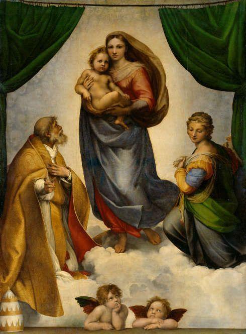 Raffael, Sixtinische Madonna, 1512/13, Öl auf Leinwand, 256× 196cm (Gemäldegalerie Alte Meister Staatliche Kunstsammlungen Dresden)
