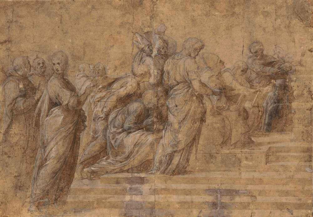 "Raffael, Kompositionsstudie (Studie für die ""Disputà"", Stanza della Segnatura, Vatikan), 1509 (© Albertina, Wien)"
