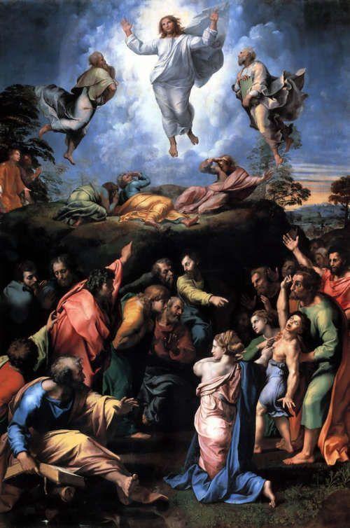 Raffael, Transfiguration, 1516-1520, Öltempera auf Kirschbaumholz, 405 × 278 cm (Vatikanische Museen)