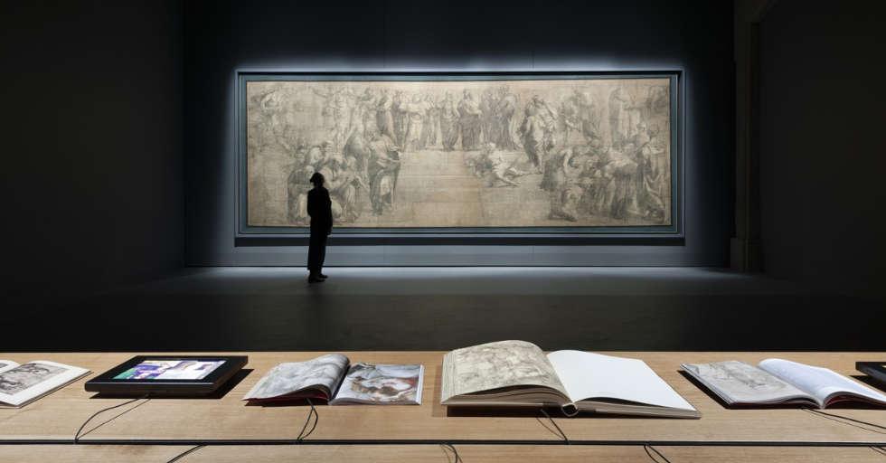 Raffaels Karton der Schule von Athen, Installationsansicht Pinacoteca Ambrosiana, Vitrine von Stefano Boeri Architetti © Paolo Rosselli