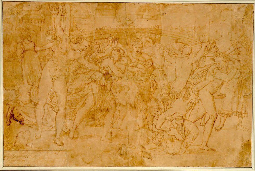 Marcantonio Raimondi, Der Bethlehemitische Kindermord, Feder, 33 x 49,3 cm (Albertina, Inv.-Nr. 343)