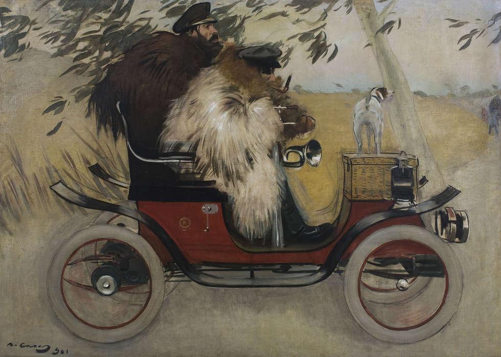 Ramon Casas und Pere Romeu in einem Auto, 1901