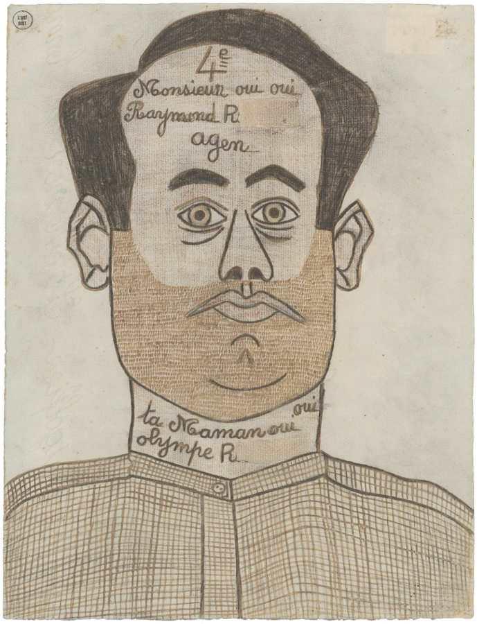Raymond R., genannt Raymond Oui, Selbstportrait, um 1948, Tinte und Farbstift auf Papier (Foto: Caroline Smyrliadis, AN, Collection de l'Art Brut, Lausanne)